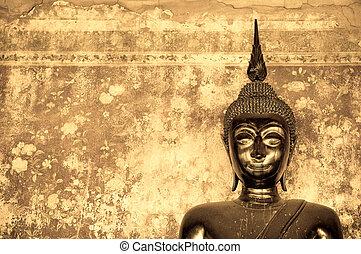 pared, buddha, encima, grunge