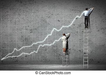 pared, businesspeople, diagramas, dibujo