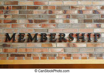 pared, calidad de miembro, ladrillo, señal