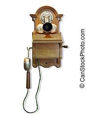 pared, call., magneto, montado, teléfono
