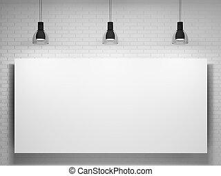 pared, cartel, encima, lámparas, ladrillo