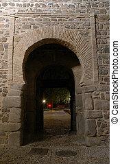 pared, ciudad, toledo, entrada, españa