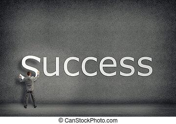 pared, collects, palabra, éxito, hombre de negocios