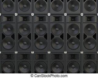pared, concierto, altavoces, cuerno