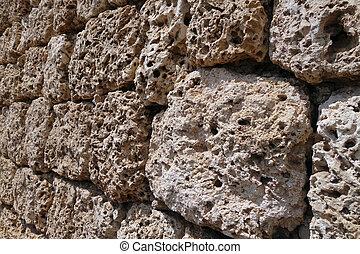 pared, coral, viejo, roca