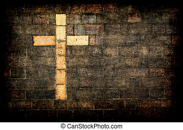 pared, cristo, ladrillo, construido, cruz