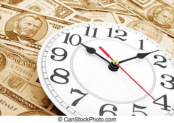 pared, dólares, reloj