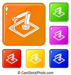 pared, d, printering, iconos, conjunto, color