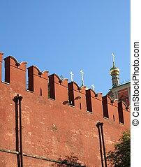 pared de kremlin, en, cielo, plano de fondo