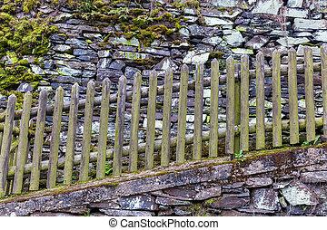 pared de madera, drystone, cerca