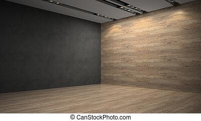 pared de madera, habitación, vacío, whith