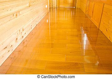 pared de madera, y, piso
