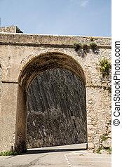 pared de piedra, más allá de, arco