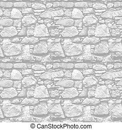 pared de piedra, -, seamless, realista, vector, plano de...