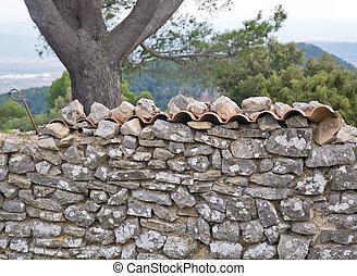 pared, drystone, azulejos, techo