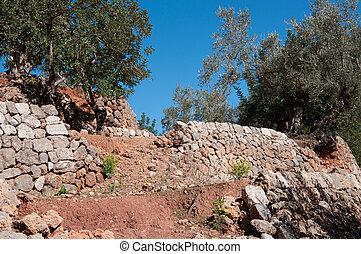 pared, drystone, caído