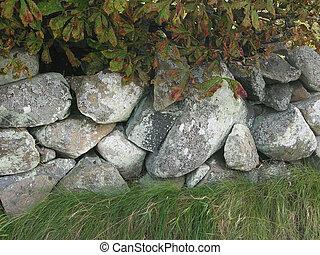 pared, drystone, costa, oeste