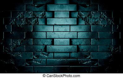 pared, escena, fondo oscuro, noche, ladrillo