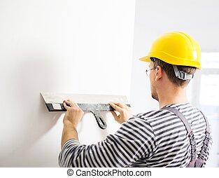 pared, espátula, constructor, nivelación
