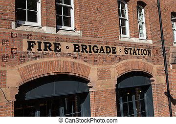 pared, estación, london:, signo fuego, brigada