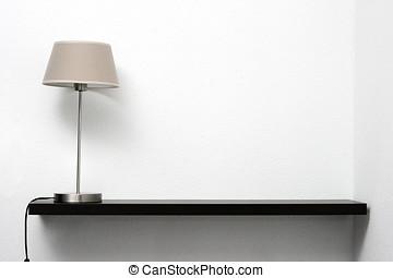 pared, estante, lámpara