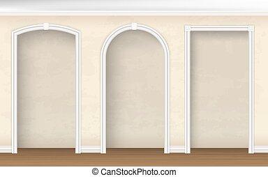 pared, formas, diferente, arcos