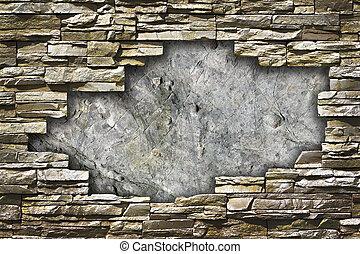 pared, grande, piedra, agujero, medio