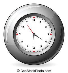 pared, gris, reloj