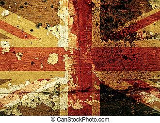 pared, grunge, bandera, viejo, reino unido