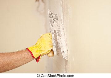 pared, hogar, rasqueta, cemento, renovación