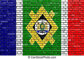 pared, johannesburg, ladrillo, bandera, pintado