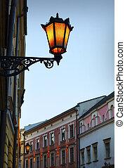 pared, lámpara, calle, viejo