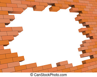 pared, ladrillo, agujero