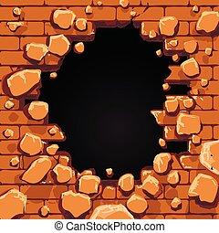 pared, ladrillo, agujero, rojo