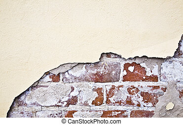 pared, ladrillo, brocken