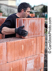 pared, ladrillo, colocación, inacabado, albañil