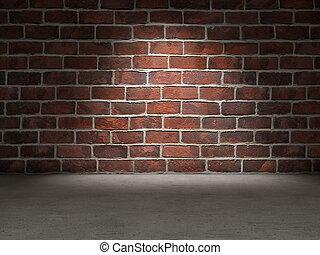pared, ladrillo concreto, piso