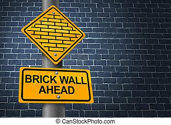 pared, ladrillo, contra