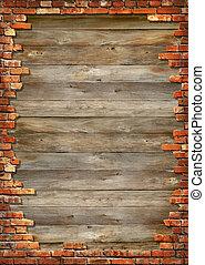 pared ladrillo, grungy, marco