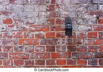 pared, ladrillo, rojo, linterna