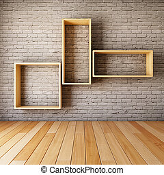 pared, ladrillo, vacío, Estantes