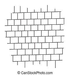 pared, ladrillo, vector, negro, blanco
