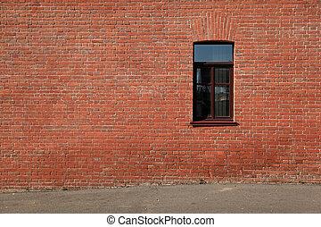 pared, ladrillo, ventana