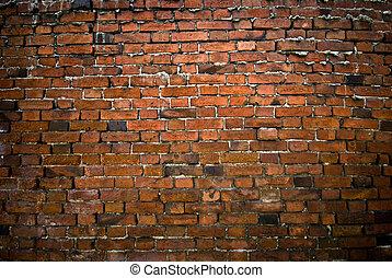 pared, ladrillo, viejo