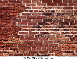 pared, ladrillo, viejo, rojo