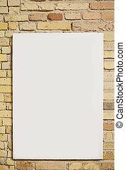pared ladrillo, y, hoja blanca, con, espacio, para, texto