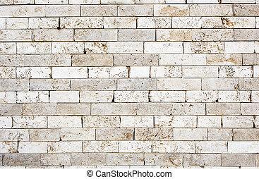 pared, Ladrillos, hecho, Mármol