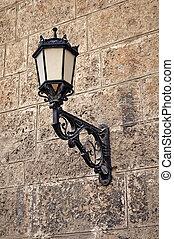 pared, lamp., montado, calle