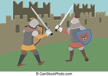 pared, lucha, vector, caballeros, castillo, caricatura