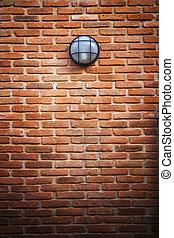 pared, luz, lámpara, ladrillo, rojo